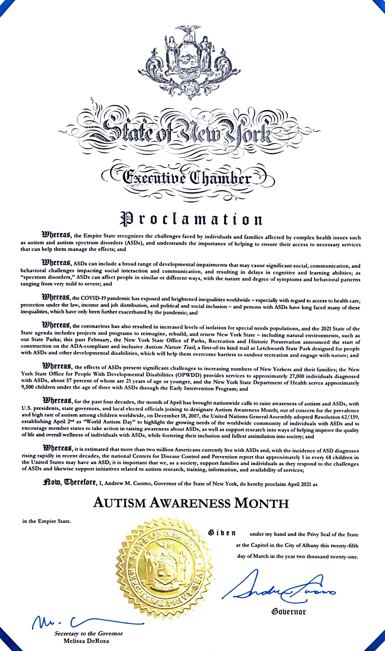 State of New York Autism Proclamation