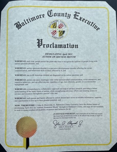 Baltimore County, MD Autism Proclamation